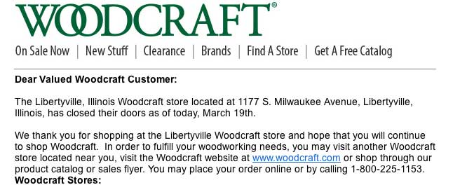 Libertyville Woodcraft closes its doors